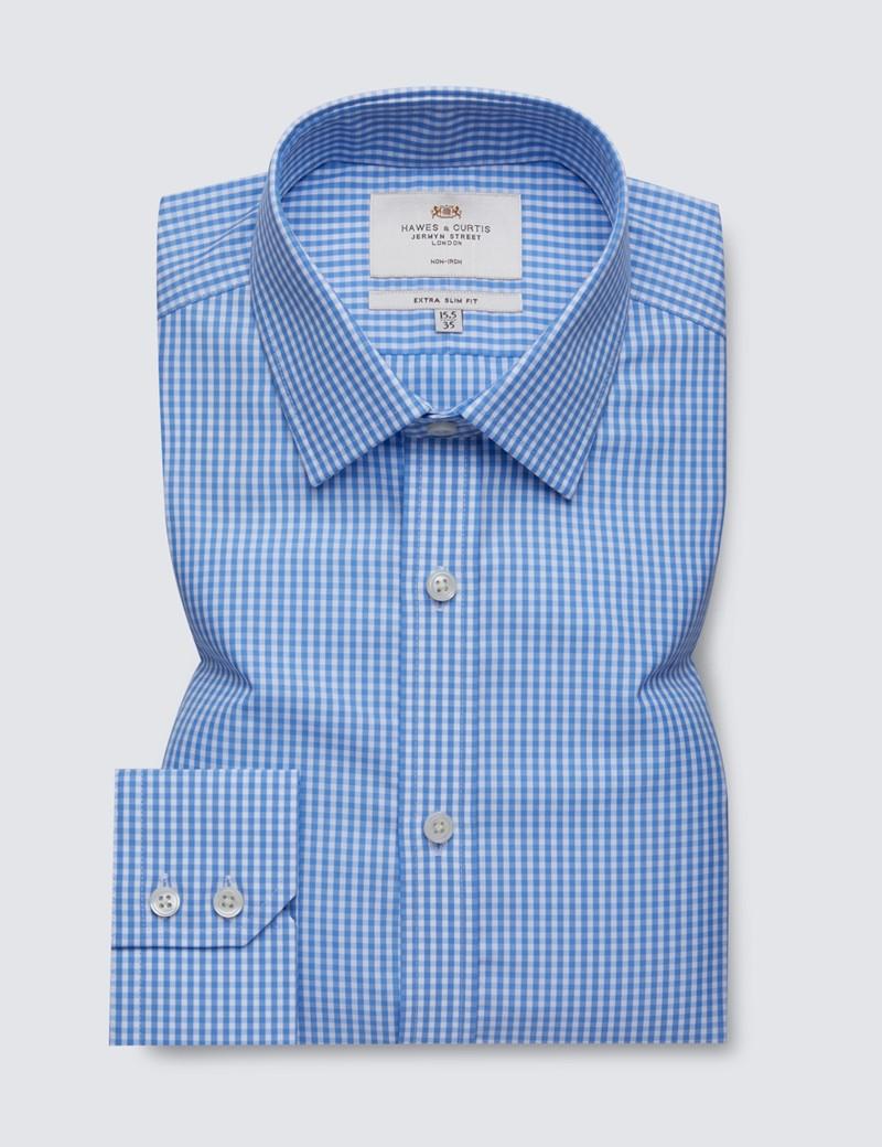 Men's Formal Blue & White Gingham Check Extra Slim Fit Shirt - Single Cuff - Non Iron