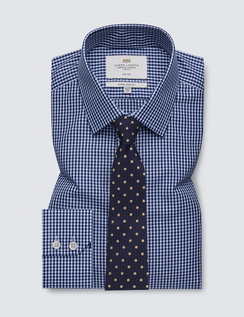 Men's Formal Navy & White Gingham Check Extra Slim Fit Shirt - Single Cuff - Non Iron
