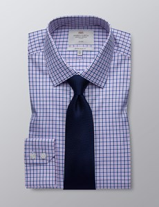 Men's Formal Navy & Pink Multi Check Extra Slim Fit Shirt - Single Cuff - Non Iron