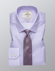 Men's Business Pink & Light Blue Multi Stripe Extra Slim Fit Shirt - Single Cuff - Non Iron