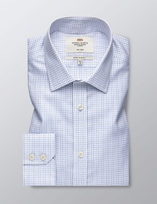 Men's Business White & Black & Blue Grid Check Extra Slim Fit Shirt - Single Cuff - Non Iron