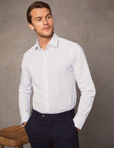 Men's Formal White & Blue Extra Slim Fit Stretch Shirt – Single Cuff
