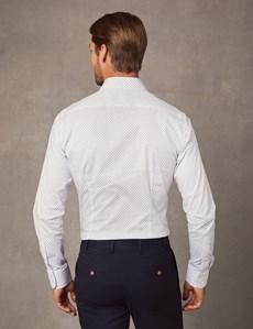 Men's Dress White & Blue Extra Slim Fit Stretch Shirt – Single Cuff