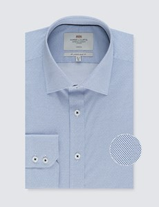 Men's  Dress Blue & White Extra Slim Fit Cotton Stretch Shirt – Single Cuff