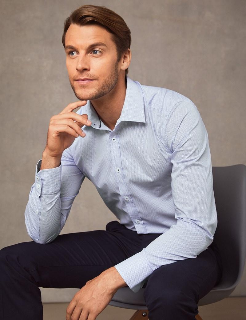 Business Hemd – Extra Slim Fit – Kent Kragen – Baumwollstretch – Weiß mit blauem Muster