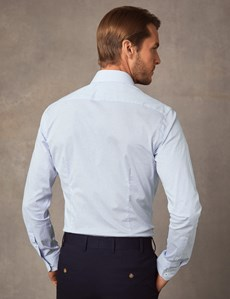 Men's Dress White & Blue Print Extra Slim Fit Stretch Shirt – Single Cuff