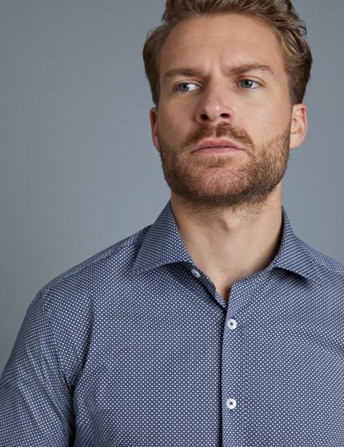 Men's Formal Navy & White Grid Print Extra Slim Fit Stretch Shirt – Single Cuff