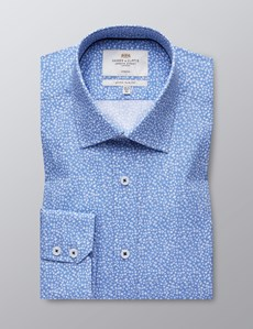 Men's Dress Light Blue & White Floral Print Extra Slim Fit Stretch Shirt – Single Cuff