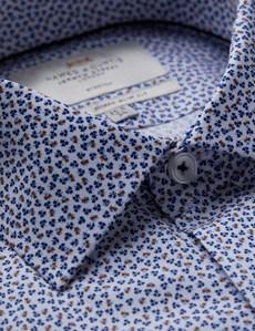 Business Hemd – Extra Slim Fit – Kent Kragen – Baumwollstretch – Florales Minimuster marine