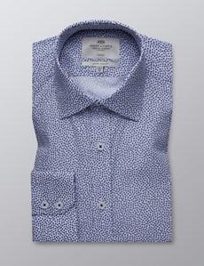 Men's Dress White & Navy Floral Print Extra Slim Fit Stretch Shirt – Single Cuff