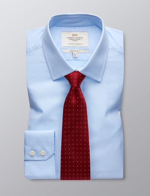 Men's Formal Blue Poplin Extra Slim Fit Shirt - Single Cuff - Easy Iron
