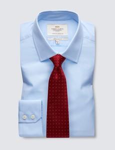 Men's  Blue Poplin Extra Slim Fit Business Shirt - Single Cuff - Easy Iron