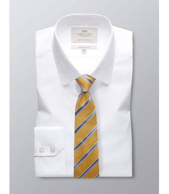 Men's  White Poplin Extra Slim Fit Business Shirt - Single Cuff - Easy Iron