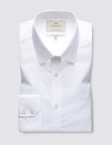 Men's White Poplin Extra Slim Fit Dress Shirt - Single Cuff - Easy Iron