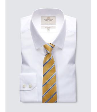 Men's  White Poplin Extra Slim Fit Business Shirt - Single Cuff - Easy Iron