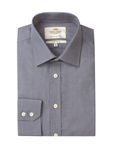 Men's Plain Grey End On End Extra Slim Fit Business Shirt - Single Cuff