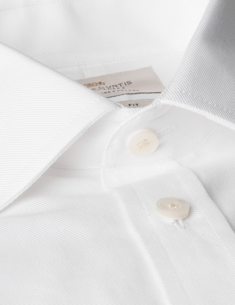Men's White Twill Extra Slim Fit Shirt - Single Cuff - Easy Iron