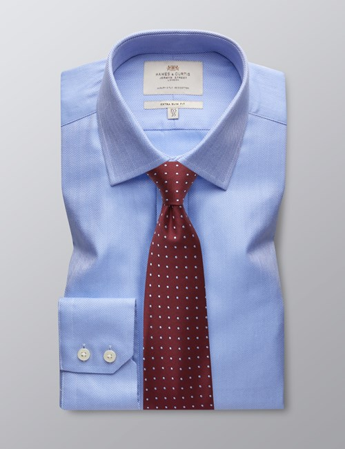 Men's Dress Blue Herringbone Extra Slim Fit Shirt - Single Cuff - Easy Iron