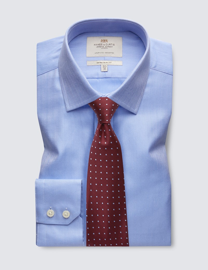 Men's Formal Blue Herringbone Extra Slim Fit Shirt - Single Cuff - Easy Iron