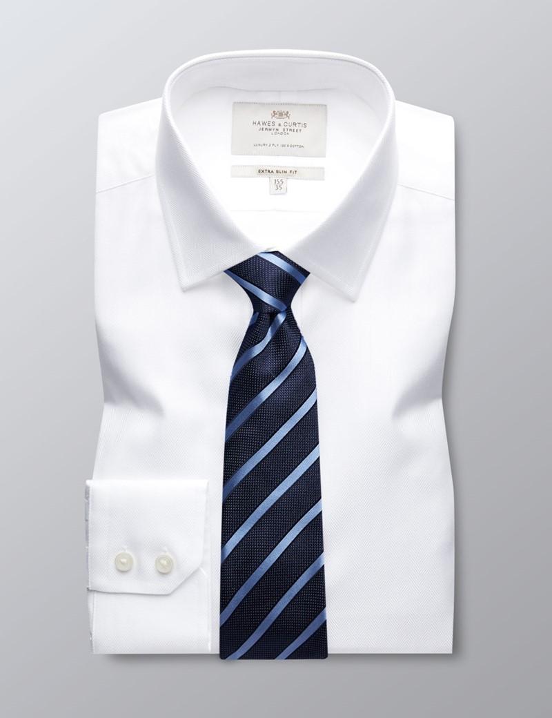 Business Hemd – Extra Slim Fit – Kent Kragen – Fischgrat reinweiß