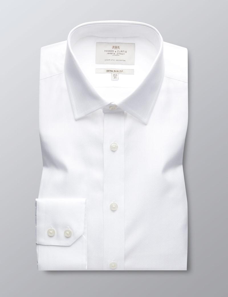 Men's Formal White Herringbone Extra Slim Fit Shirt - Single Cuff - Easy Iron