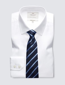Men's Formal White Herringbone Extra Slim Fit Shirt - Single Cuff - Easy Iron