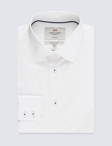 Business Hemd – Extra Slim Fit – Kent Kragen – Weiß mit Akzenten