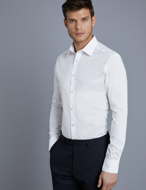 Men's Dress White Extra Slim Fit Stretch Shirt  - Single Cuff