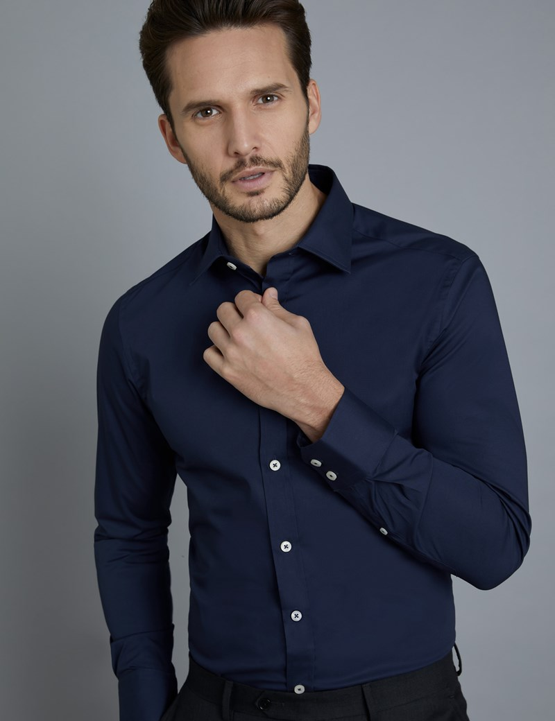 Men's Business Navy Extra Slim Fit Stretch Shirt With Piping – Single Cuff