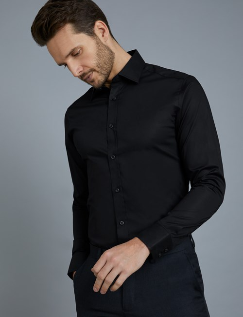 Men's Dress Black Extra Slim Fit Stretch Shirt – Single Cuff