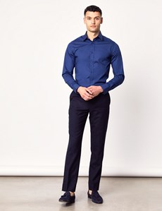 Men's Business Midnight Blue Extra Slim Fit Stretch Shirt – Single Cuff