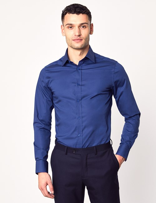 Men's Formal Midnight Blue Extra Slim Fit Stretch Shirt – Single Cuff