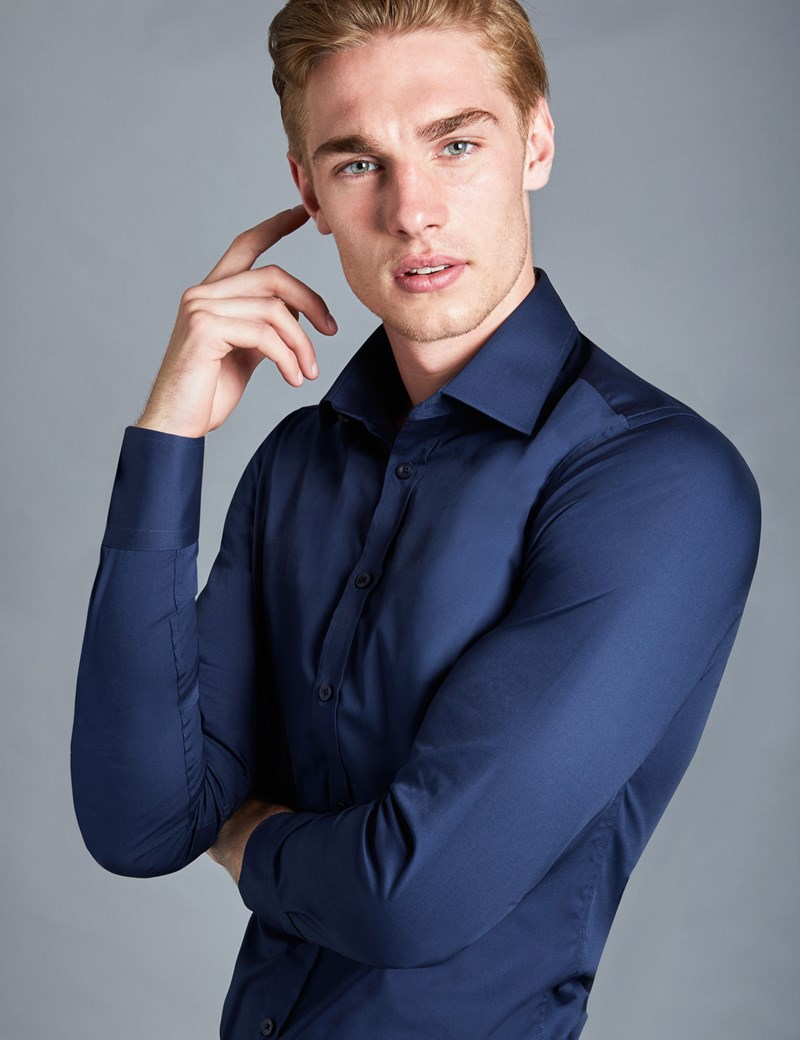 Men's Formal Navy Extra Slim Fit Stretch Shirt – Single Cuff