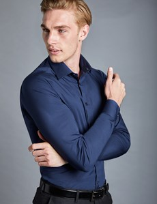 Men's Business Navy  Extra Slim Fit Stretch Shirt – Single Cuffs