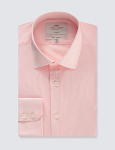 Men's Business Pink Extra Slim Fit Stretch Shirt – Single Cuff