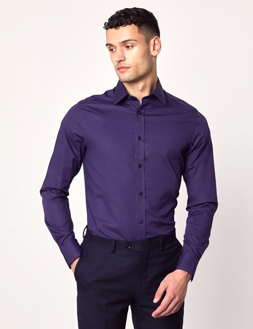 Men's Dress Grape Purple Extra Slim Fit Stretch Shirt – Single Cuff