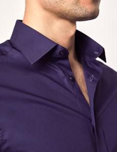 Men's Business Grape Purple Extra Slim Fit Stretch Shirt – Single Cuff