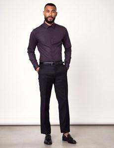 Men's Dress Dark Purple Extra Slim Fit Stretch Shirt – Single Cuff