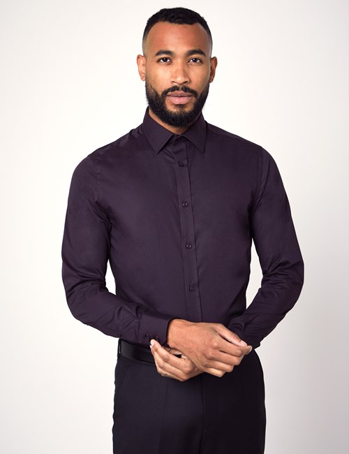 Men's Formal Dark Purple Extra Slim Fit Stretch Shirt – Single Cuff