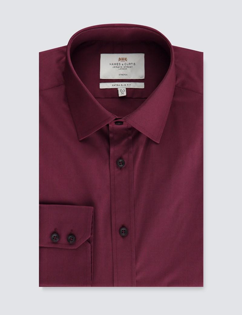 Business Stretchhemd – Extra Slim Fit – Kentkragen – weinrot