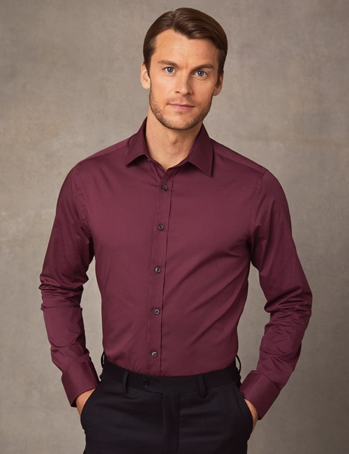 Men's Formal Wine Extra Slim Fit Stretch Shirt – Single Cuff