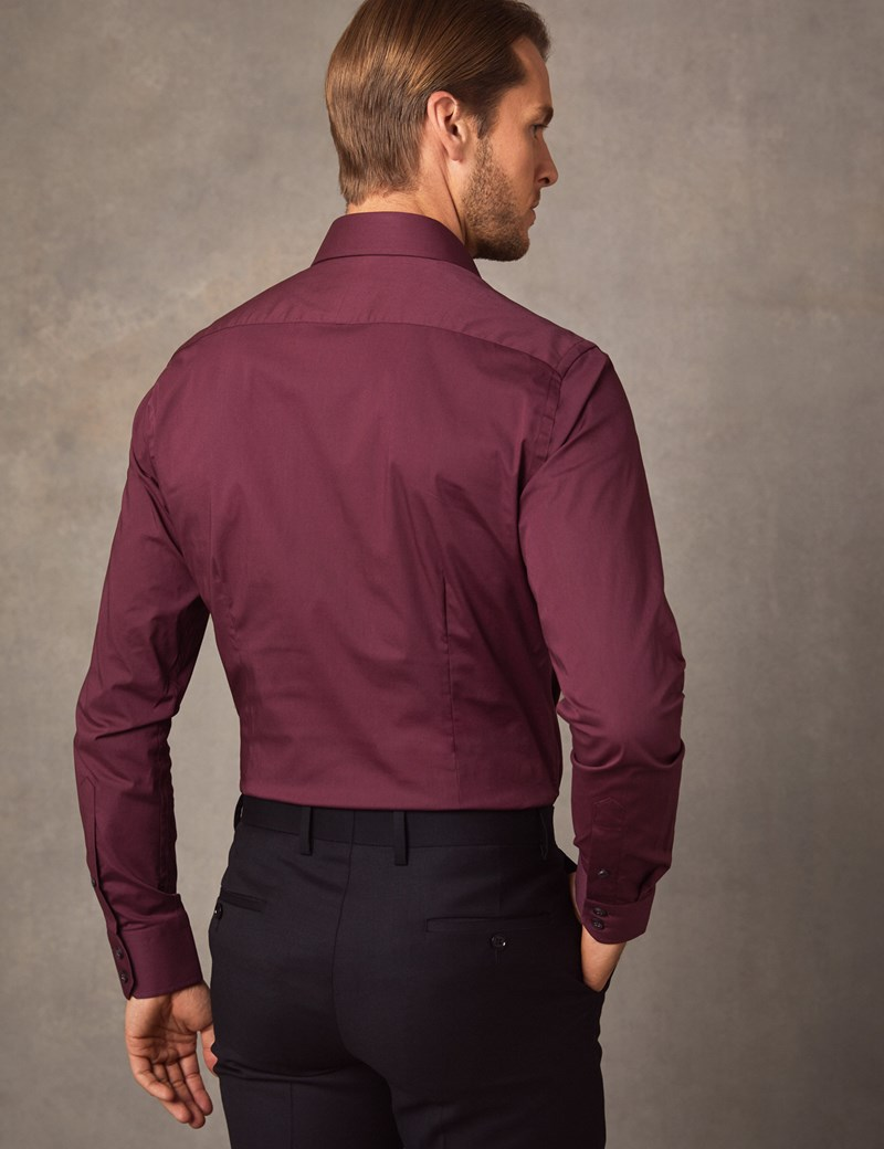 Men's Business Wine Extra Slim Fit Stretch Shirt – Single Cuff