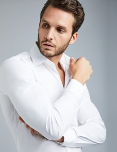 Men's Business White Extra Slim Fit Stretch Shirt – Single Cuffs