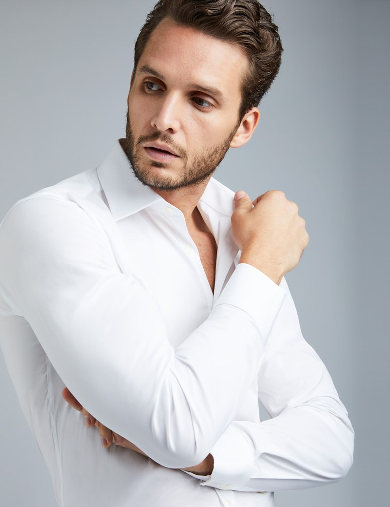 Men's Formal White Extra Slim Fit Stretch Shirt – Single Cuff
