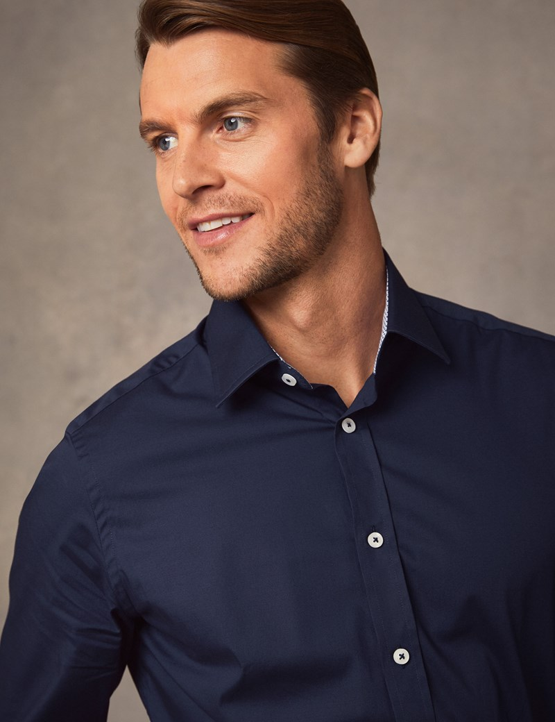 Men's Dress Navy Extra Slim Fit Stretch Shirt With Contrast Detail – Single Cuff
