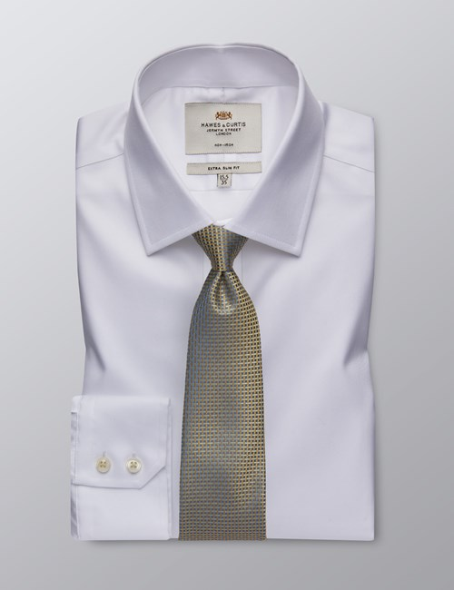 Men's Formal White Dobby Twill Extra Slim Fit Shirt - Single Cuff - Non Iron