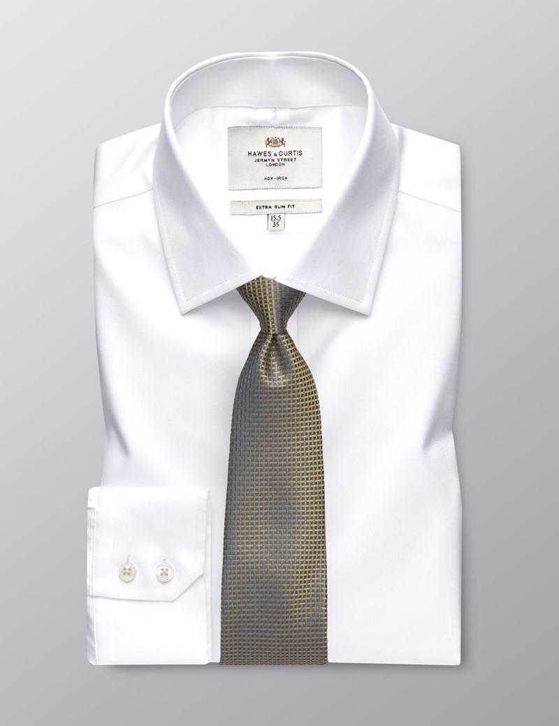 Men's Formal White Dobby Twill Extra Slim Fit Shirt - Single Cuff - Non Iron