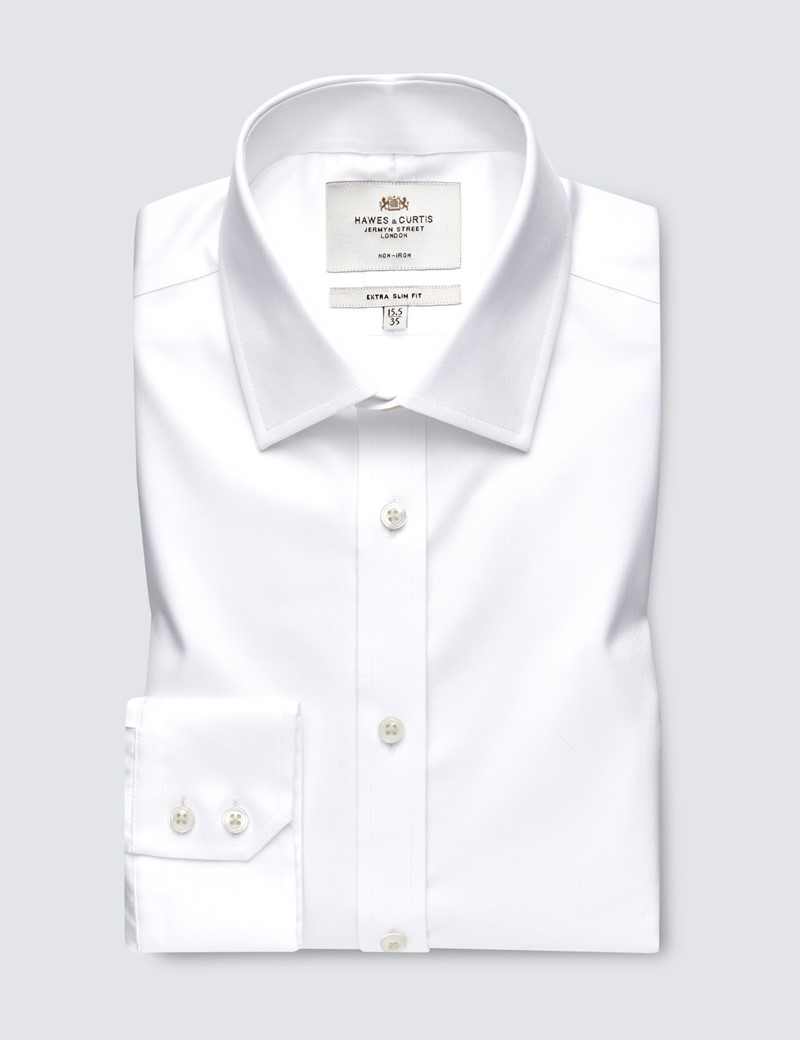 Men's Dress White Dobby Twill Extra Slim Fit Shirt - Single Cuff - Non Iron