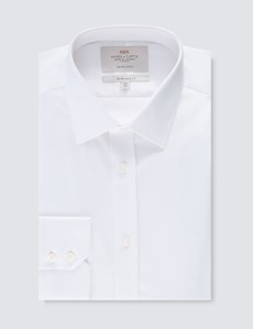 Men's Formal White Extra Slim Fit Stretch Shirt - Non Iron - Single Cuff