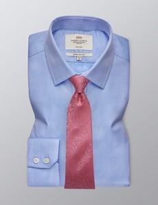 Men's Dress Blue Fabric Interest Extra Slim Fit Shirt - Single Cuff - Non Iron